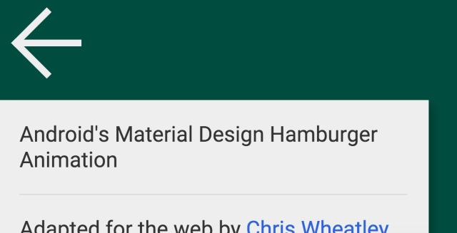 Material design hamburger — open