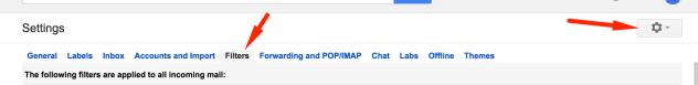 Gmail Filters menu