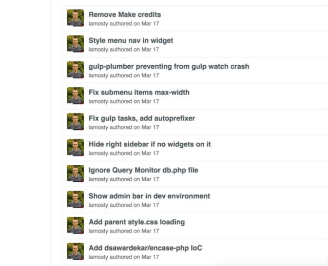 Figure 1: Git commits history on GitHub