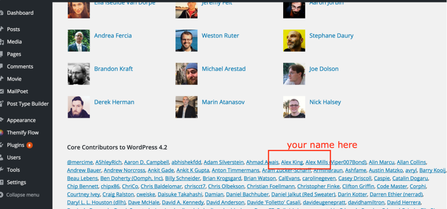 Figure 1: WordPress update Credits screen